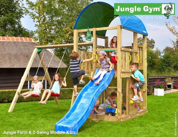 Jungle Gym | Farm + 2-Swing Module X'tra | DeLuxe | Blauw