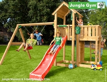 Jungle Gym | Mansion + 2-Swing Module X'tra | DeLuxe| Blauw