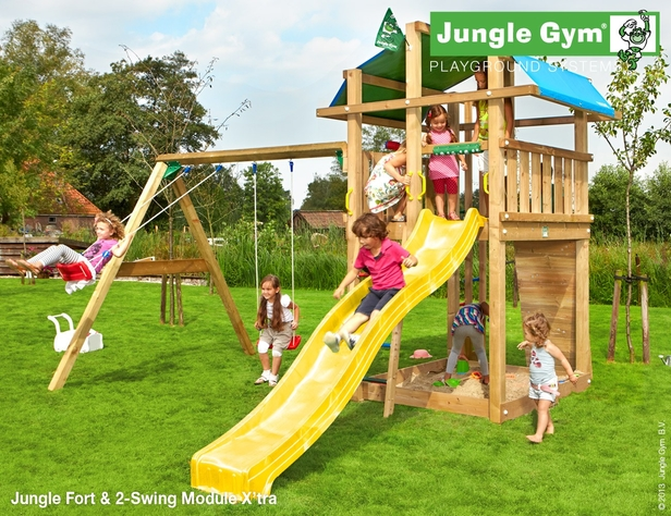 Jungle Gym | Fort + 2-Swing Module X'tra | DeLuxe | Blauw