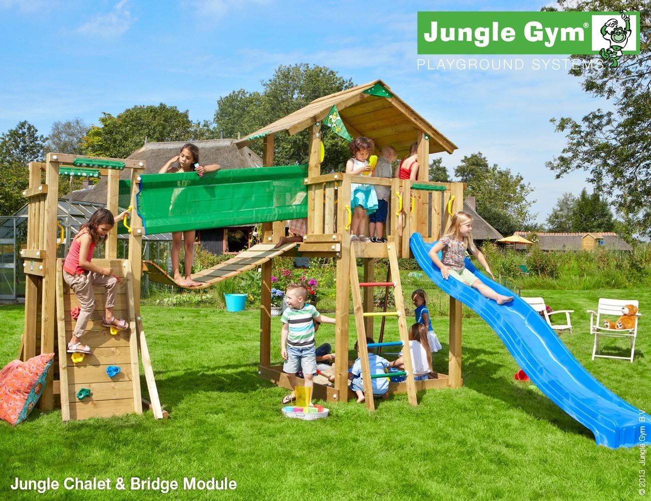 Jungle Gym   Chalet + Bridge Module   Blauw