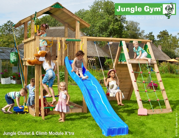 Jungle Gym | Chalet + Climb Module X'tra | DeLuxe | Blauw