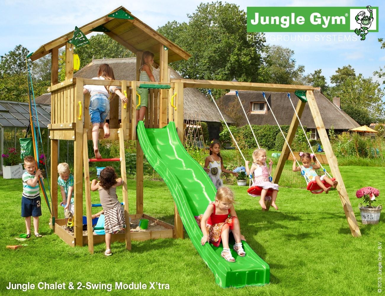 Jungle Gym   Chalet + 2-Swing Module X'tra   DeLuxe   Lichtgroen