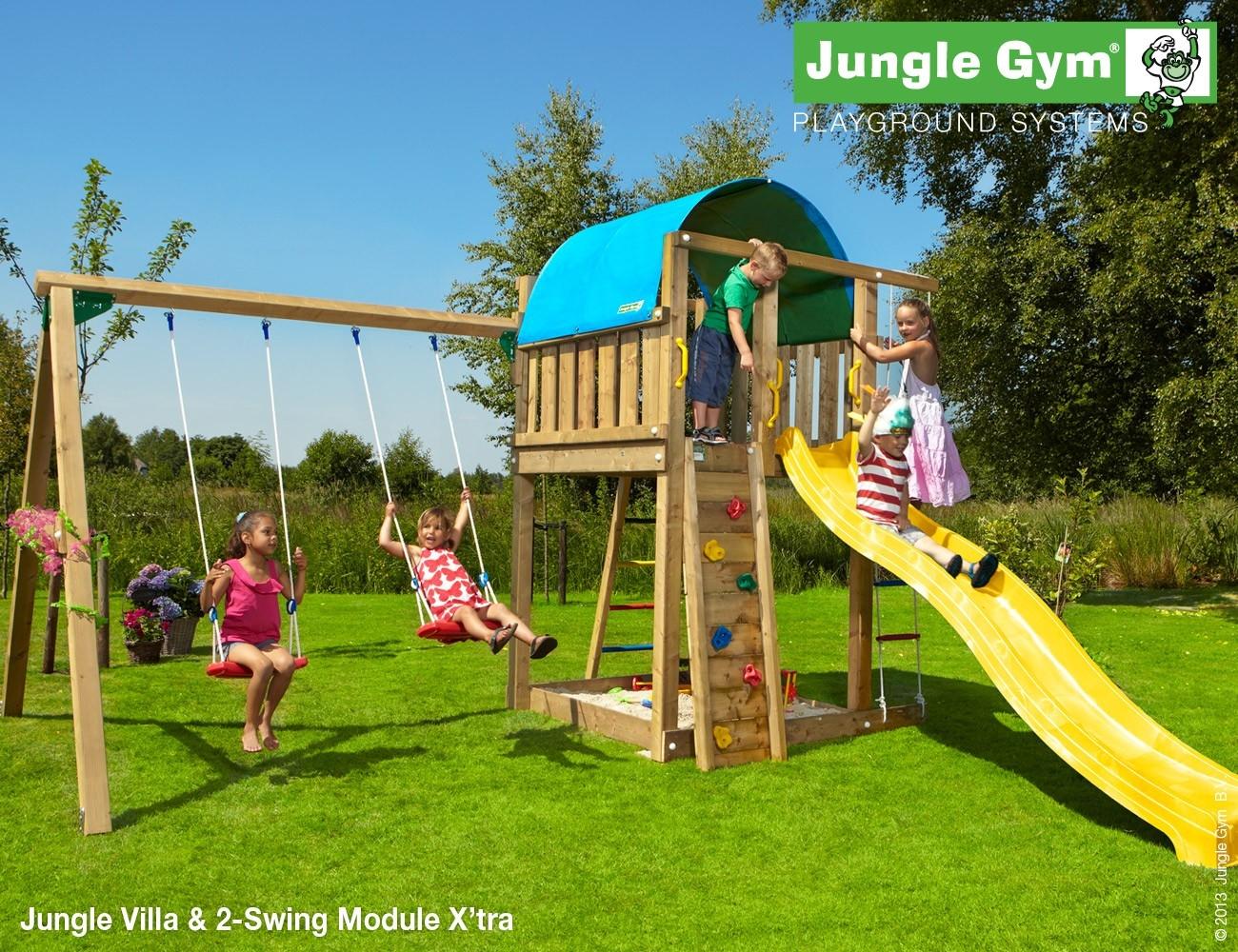 Jungle Gym   Villa + 2-Swing Module X'tra   DeLuxe   Blauw