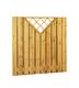 Plankenscherm grenen | Verticaal met trellis driehoek