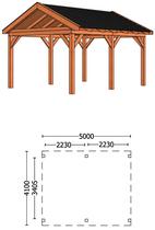 Trendhout | Buitenverblijf Zadeldakschuur L 5000 mm | Combinatie 1
