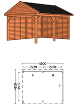 Trendhout | Buitenverblijf Zadeldakschuur L 5000 mm | Combinatie 2