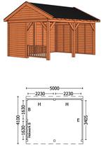 Trendhout | Buitenverblijf Zadeldakschuur L 5000 mm | Combinatie 3