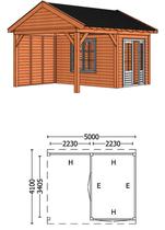 Trendhout | Buitenverblijf Zadeldakschuur L 5000 mm | Combinatie 5