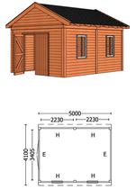 Trendhout | Buitenverblijf Zadeldakschuur L 5000 mm | Combinatie 6