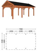 Trendhout | Buitenverblijf zadeldakschuur L 7400 mm | Combinatie 1