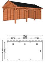 Trendhout | Buitenverblijf zadeldakschuur L 7400 mm Combinatie 2