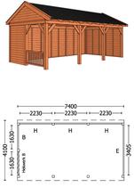 Trendhout | Buitenverblijf zadeldakschuur L 7400 mm  Combinatie 3