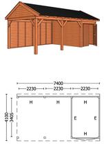 Trendhout | Buitenverblijf zadeldakschuur L 7400 mm  Combinatie 4