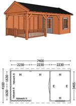 Trendhout | Buitenverblijf zadeldakschuur L 7400 mm | Combinatie 5