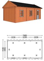 Trendhout | Buitenverblijf zadeldakschuur L 7400 mm Combinatie 6