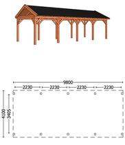Trendhout | Buitenverblijf Zadeldakschuur L 9800 mm | Combinatie 1