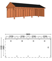 Trendhout | Buitenverblijf zadeldakschuur L 9800 mm | Combinatie 2