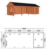 Trendhout | Buitenverblijf zadeldakschuur L 9800 mm | Combinatie 3
