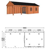 Trendhout | Buitenverblijf zadeldakschuur L 9800 mm | Combinatie 4