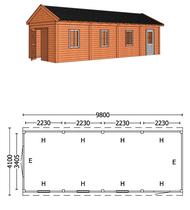 Trendhout | Buitenverblijf zadeldakschuur L 9800 mm | Combinatie 6