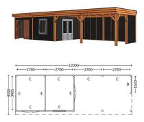 Trendhout | Buitenverblijf Refter XL 12000 mm | Combinatie 4