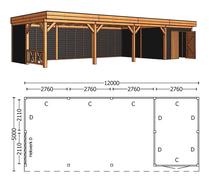 Trendhout | Buitenverblijf Regina XL 12000 mm | Combinatie 3