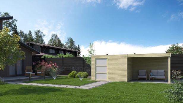 Blokhut met luifel   QBS   600 x 300 cm   Gardenas V