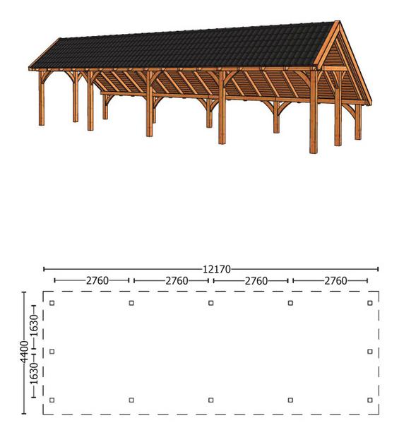 Trendhout | Kapschuur De Hoeve XL 12.17m Combinatie 1