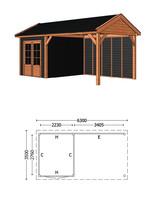 Trendhout | Buitenverblijf Zadeldak Betula L 6300 mm | Combinatie 6