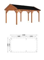 Trendhout | Buitenverblijf Zadeldak Betula L 6300 mm | Combinatie 1
