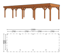 Trendhout | Buitenverblijf Refter XL 12000 mm | Combinatie 1
