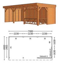 Trendhout | Buitenverblijf Mensa L 7400 mm | Combinatie 3