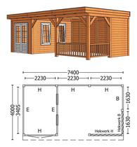 Trendhout | Buitenverblijf Mensa L 7400 mm | Combinatie 5