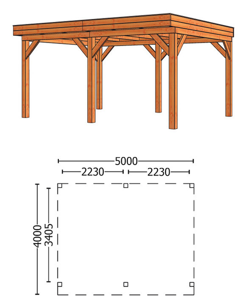 Trendhout | Buitenverblijf Mensa L 5000 mm | Combinatie 1