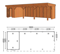 Trendhout | Buitenverblijf Mensa L 9800 mm | Combinatie 3