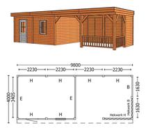 Trendhout | Buitenverblijf Mensa L 9800 mm | Combinatie 4