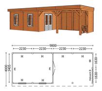 Trendhout | Buitenverblijf Mensa L 9800 mm | Combinatie 5