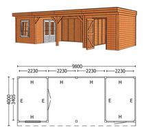 Trendhout | Buitenverblijf Mensa L 9800 mm | Combinatie 6