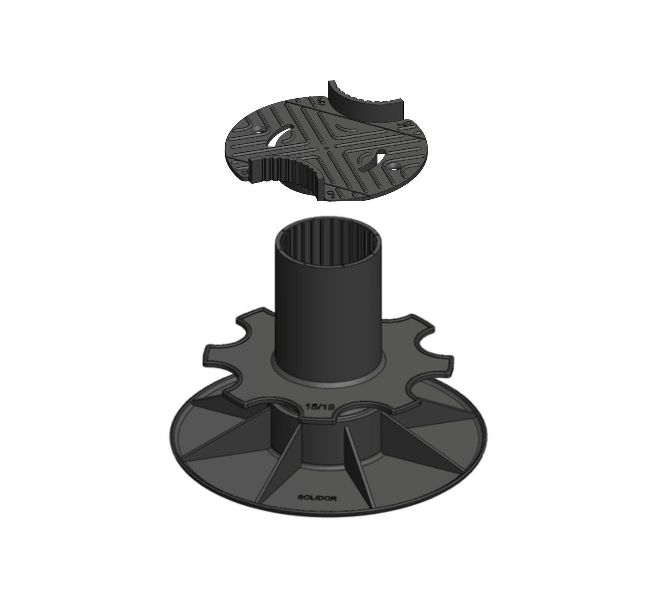 Verstelbare balkdrager met bovenplaat | 15-19 cm