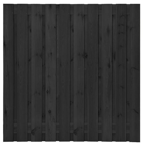Grenen plankenscherm | 21-planks | 180 x 180 cm | Zwart gespoten