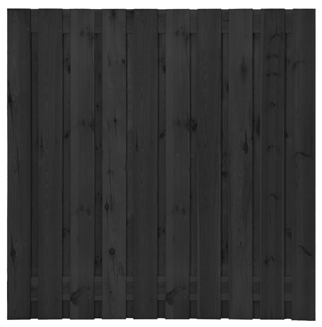 Grenen plankenscherm   21-planks   180 x 180 cm   Zwart gespoten