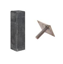 Betonpoer met facetrand | 17 x 17 cm voor paal 14-15 cm | Inclusief stelplaat