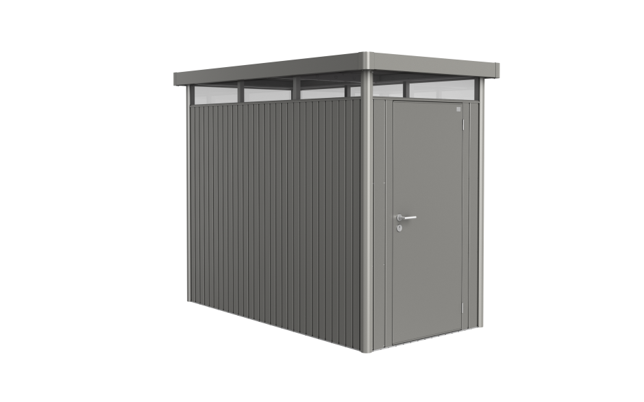 BIOHORT Berging HighLine Kwarts Grijs Metallic Formaat HS 275 x 155 cm Standaard deur