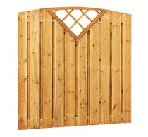 Toogplankenscherm grenen | verticaal 21-planks | met trellis driehoek