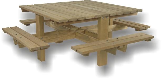 Picknicktafel hardhout vierkant