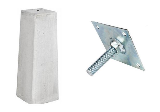 Betonpoer taps | Grijs | 18/15 x 18/15 cm voor paal 14-15 cm