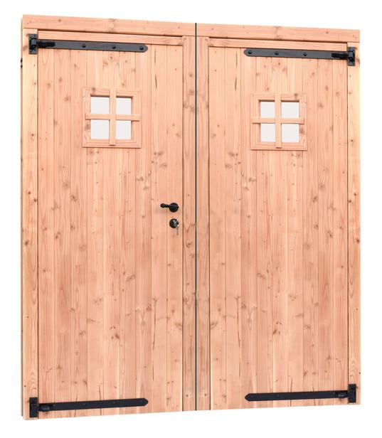 Douglasvision | Dubbele deur met zwart beslag met raam
