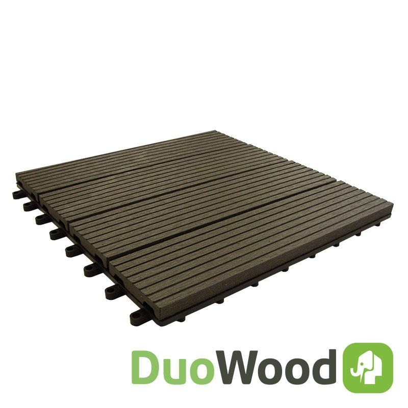 DuoWood | Easy-click tuintegel 30x30 | Lava | 4 stuks