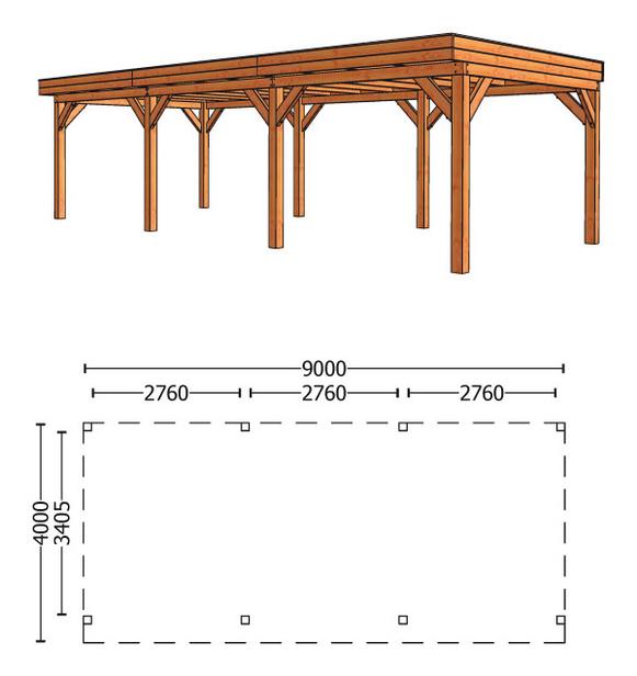 Trendhout | Buitenverblijf Refter XL 9000 mm | Combinatie 1