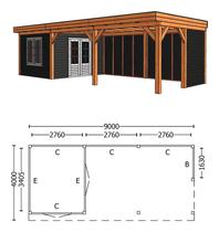 Trendhout | Buitenverblijf Refter XL 9000 mm | Combinatie 4